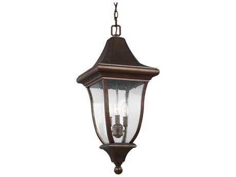 Feiss Oakmont Patina Bronze Three-Light 12'' Wide Outdoor Hanging Latern FEIOL13109PTBZ