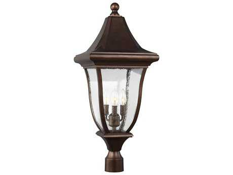 Feiss Oakmont Patina Bronze Three-Light 12'' Wide Outdoor Post Latern