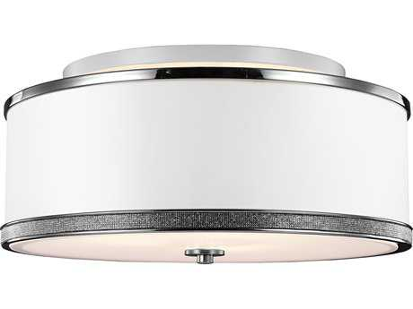 Feiss Pave Polished Nickel Three-Light 20'' Wide Semi-Flush Mount with White Shantung Shade FEISF326PN