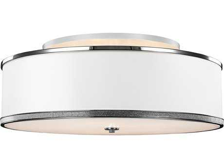 Feiss Pave Polished Nickel Five-Light 30.25'' Wide Semi-Flush Mount with White Shantung Shade