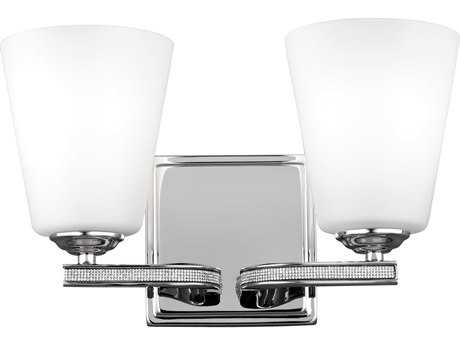 Feiss Pave Polished Nickel Two-Light 13'' Wide Vanity Light with White Shantung Silk Fabric Shade FEIVS20202PN