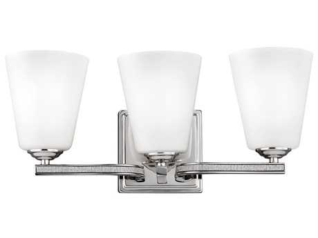 Feiss Pave Polished Nickel Three-Light 18'' Wide Vanity Light with White Shantung Silk Fabric Shade