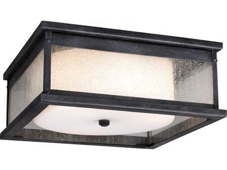 Feiss Pediment Dark Weathered Zinc Two-Light Outdoor Ceiling Light