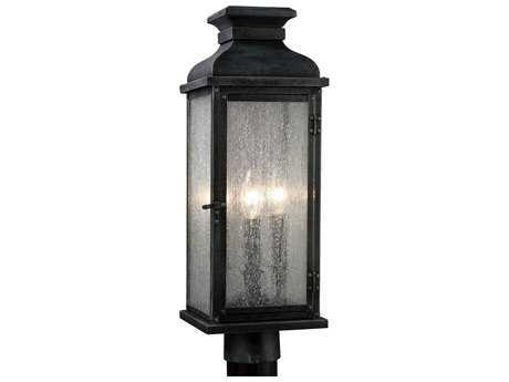 Feiss Pediment Dark Weathered Zinc Two-Light Outdoor Post Light FEIOL11107DWZ