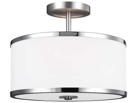Feiss Prospect Park Satin Nickel / Chrome Two-Light 12.75'' Wide Semi-Flush Mount with White Opal Etched Glass Shade FEISF335SNCH