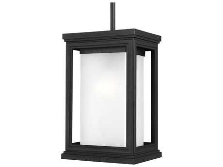 Feiss Roscoe Textured Black 7.5'' Wide Edison Bulb Outdoor Hanging Pendant Light with White Opal Etched Glass Shade
