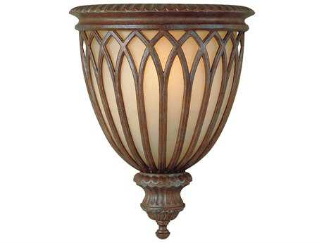 Feiss Stirling Castle British Bronze 11'' Wide Wall Sconce with Antique Excavation Glass Shade FEIWB1238BRB