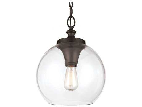 Feiss Tabby Oil Rubbed Bronze 12'' Wide Edison Bulb Pendant Light with Clear Glass Shade FEIP1307ORB