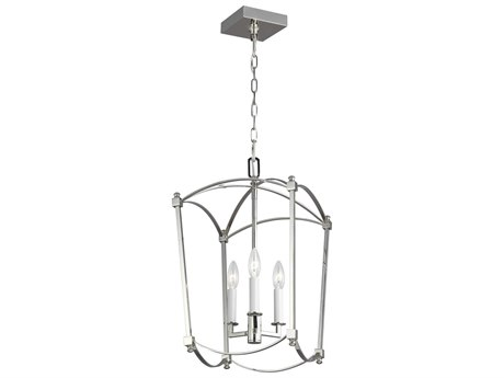 Feiss Thayer Polished Nickel 12'' Wide Mini Chandelier FEIF33213PN