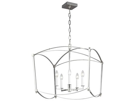 Feiss Thayer Polished Nickel 23'' Wide Mini Chandelier FEIF33255PN