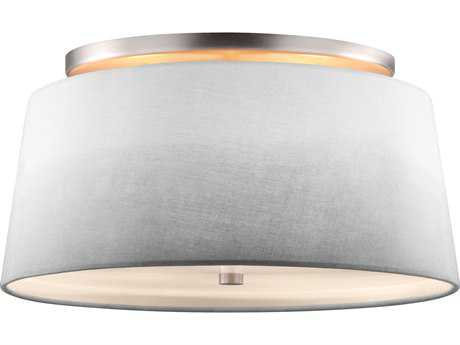 Feiss Tori Satin Nickel Three-Light 14'' Wide Semi-Flush Mount with Glass Diffuser and Fabric Shade FEISF316SN