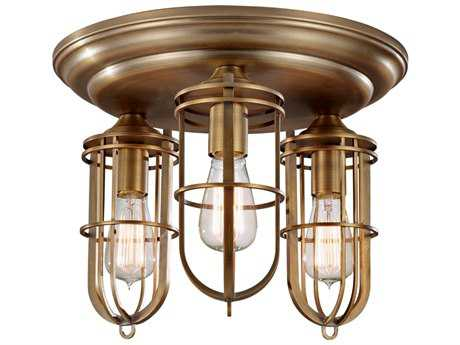 Feiss Urban Renewal Dark Antique Brass Three-Light Flush Mount Light FEIFM378DAB
