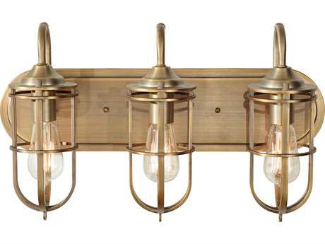Feiss Urban Renewal Dark Antique Brass Three-Light 21.38'' Wide Vanity Light with Dark Antique Brass Die Cast Zinc Shade FEIVS36003DAB