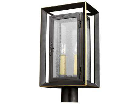 Feiss Urbandale Antique Bronze / Painted Burnished Brass Two-Light 10'' Wide Outdoor Post Latern