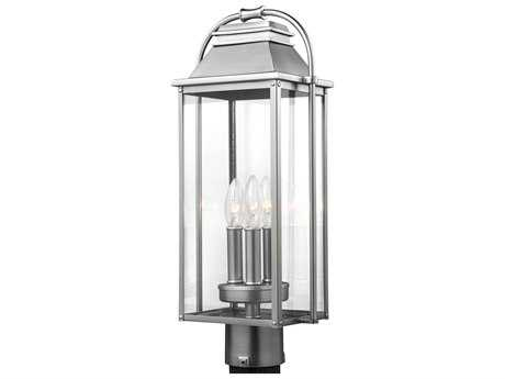 Feiss Wellsworth Painted Brushed Steel Three-Light 8.5'' Wide Outdoor Post Latern