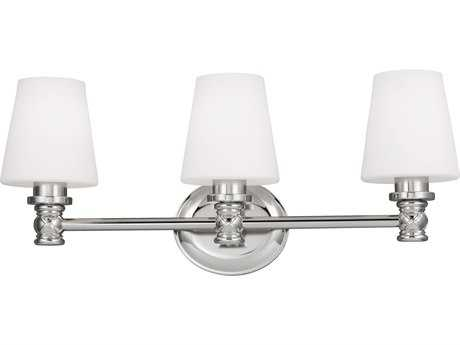 Feiss Xavierre Polished Nickel Three-Light 23.13'' Wide Vanity Light with Opal Etched Cased Glass Shade FEIVS22103PN