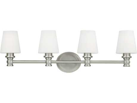 Feiss Xavierre Satin Nickel Four-Light 32.25'' Wide Vanity Light with Opal Etched Cased Glass Shade