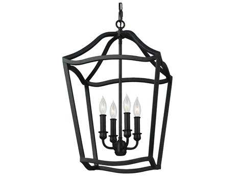 Feiss Yarmouth Antique Forged Iron 14.75'' Wide Four-Light Chandelier FEIF29754AF