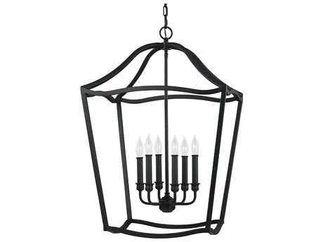 Feiss Yarmouth Antique Forged Iron 20.25'' Wide Six-Light Chandelier FEIF29766AF
