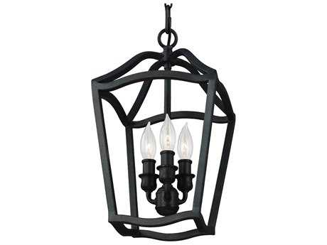 Feiss Yarmouth Antique Forged Iron 9'' Wide Three-Light Mini-Chandelier FEIF29743AF