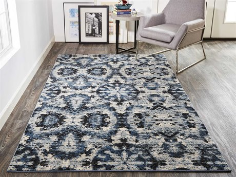 Feizy Rugs Ainsley Charcoal / Blue Rectangular Runner Area Rug
