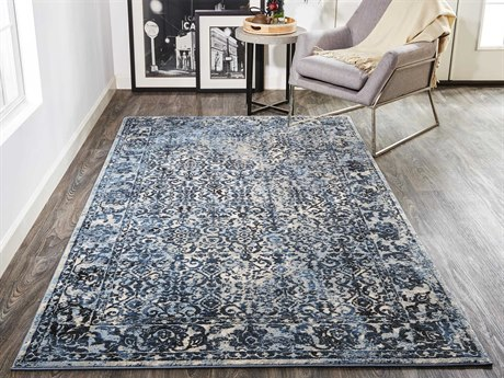 Feizy Rugs Ainsley Blue / Charcoal Rectangular Runner Area Rug