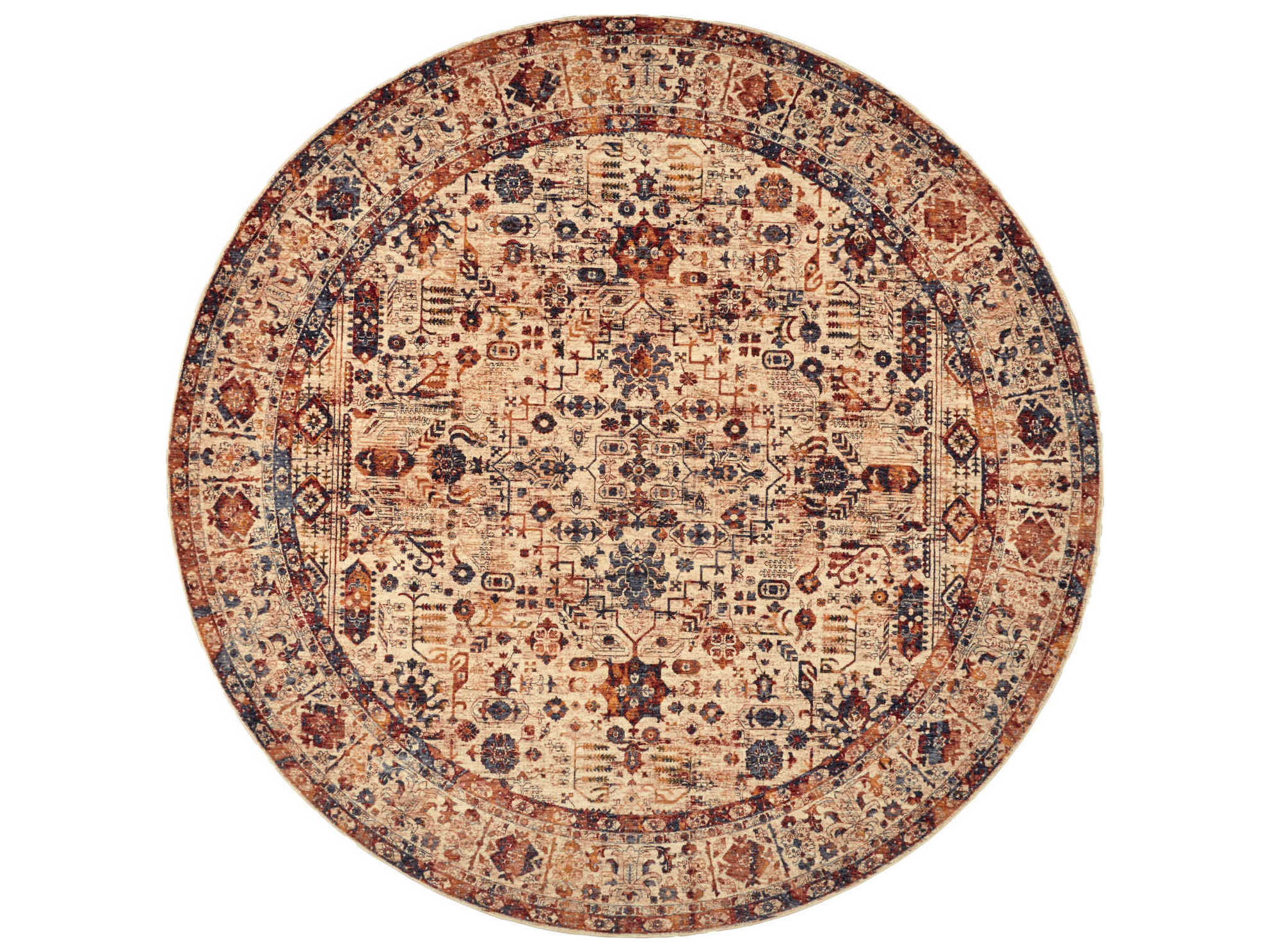 Feizy Rugs Hammond Taupe Blue Round Area Rug