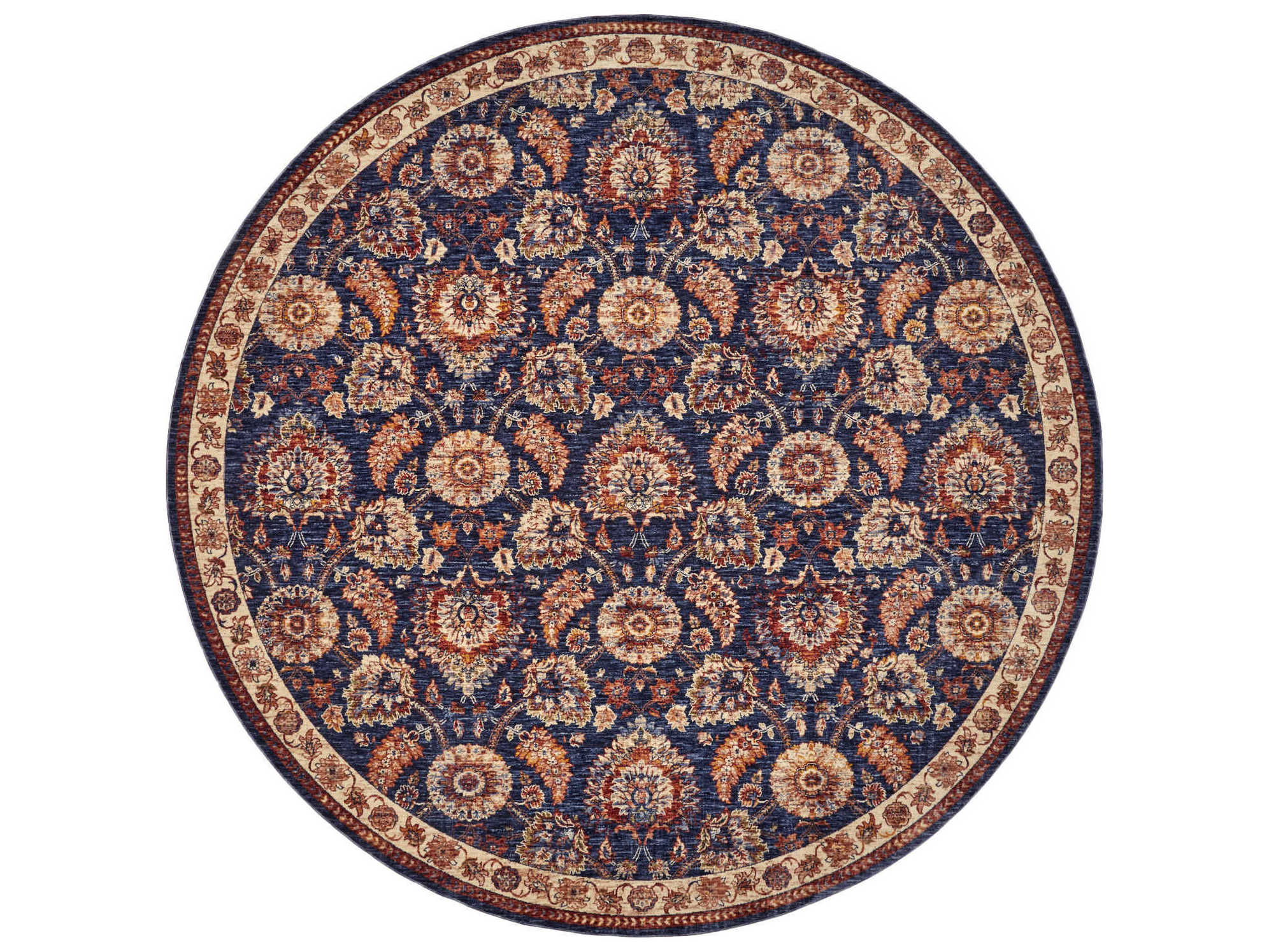 Feizy Rugs Hammond Blue Rust Round Area Rug