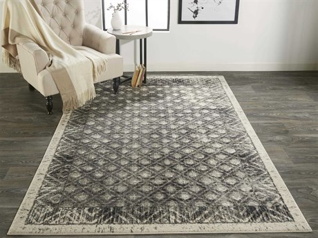 Feizy Rugs Kano Gray / Charcoal Rectangular Round Area Rug FZ3875FGRAYCHARCOAL