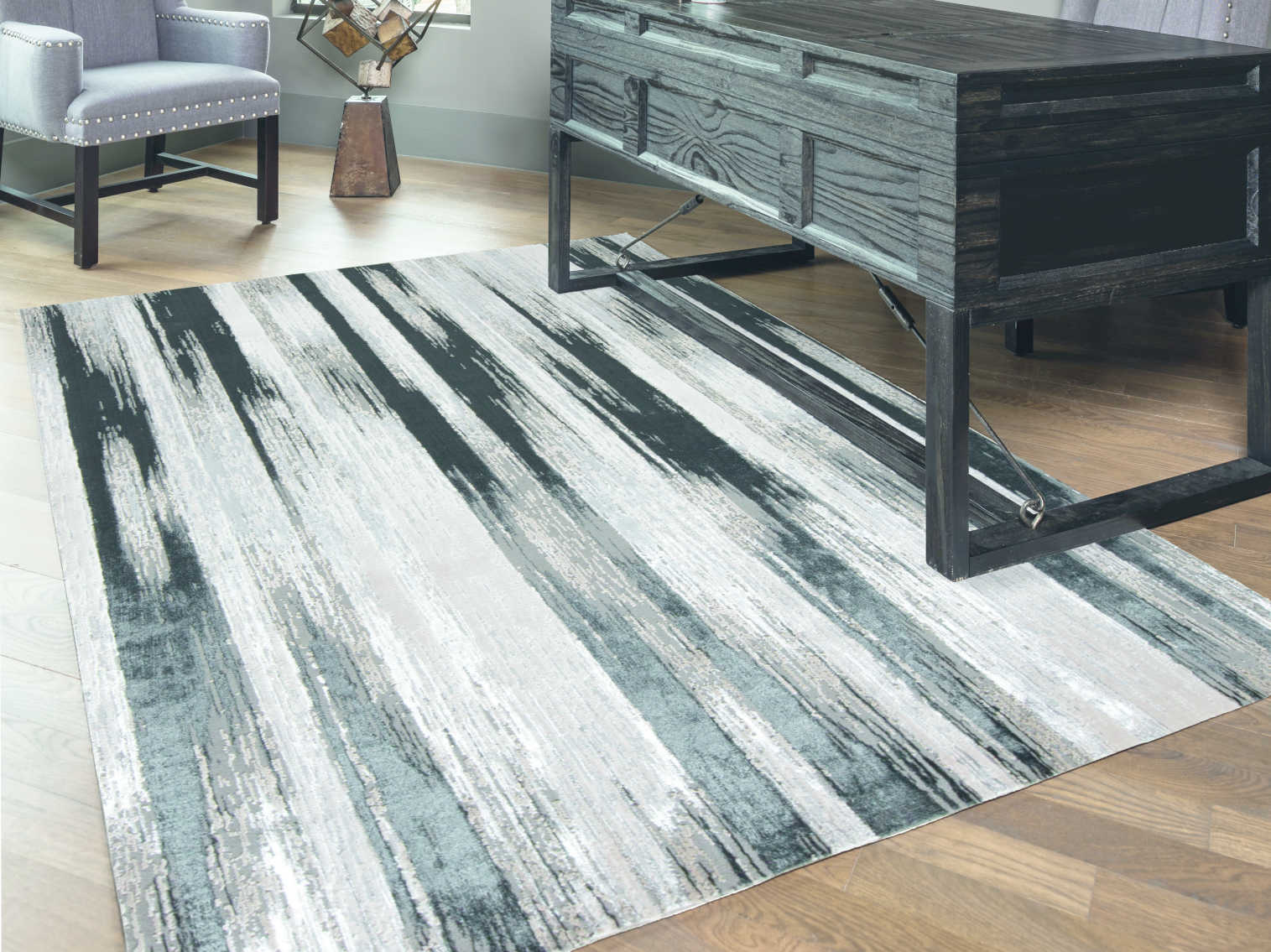 Feizy Rugs Micah Black Silver Rectangular Area Rug