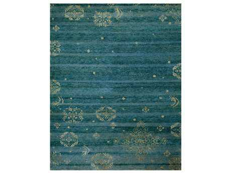 Feizy Rugs Qing Rectangular Teal Area Rug