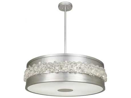 Fine Art Lamps Arctic Halo Platinized Silver Leaf Three-Lights 32'' Wide Pendant Light FA876340ST