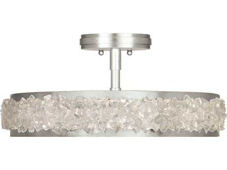 Fine Art Lamp Arctic Halo Silver Leaf Three-Light 20.5'' Wide Semi Flush Mount Light FA879940ST