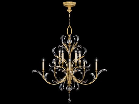 Fine Art Lamps Beveled Arcs Gold 760640ST Ten-Light 56'' Wide Grand Chandelier FA760640ST