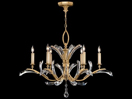 Fine Art Lamps Beveled Arcs Gold 761240ST Six-Light 42'' Wide Grand Chandelier FA761240ST
