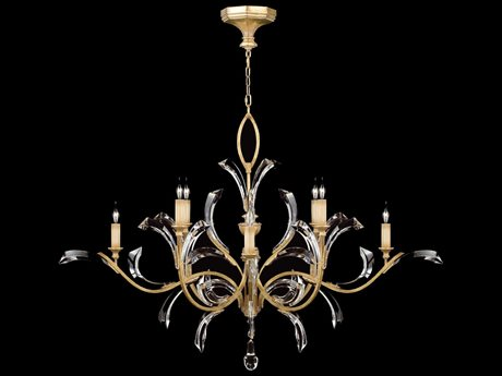Fine Art Lamps Beveled Arcs Gold 761640ST Eight-Light 57'' Wide Grand Chandelier FA761640ST