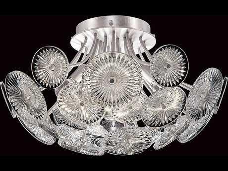 Fine Art Lamps Chrysanthemums Silver Six-Light 21'' Wide Flush Mount Light FA884540ST