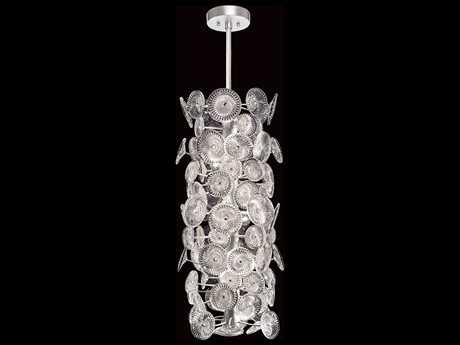 Fine Art Lamps Chrysanthemums Silver Leaf 14-Light 16'' Wide Crystal Pendant