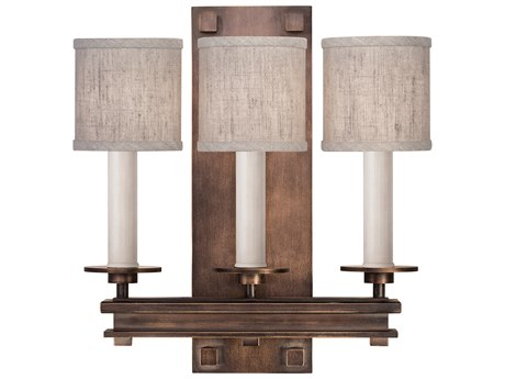 Fine Art Lamps Cienfuegos Antique Bronze Three-Light Wall Sconce with Shade FA88895011ST