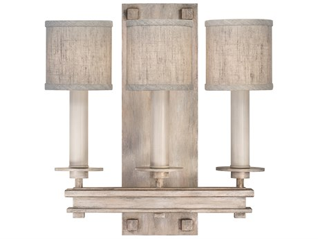 Fine Art Lamps Cienfuegos Weathered Gray Patina Three-Light Wall Sconce with Shade FA88895021ST