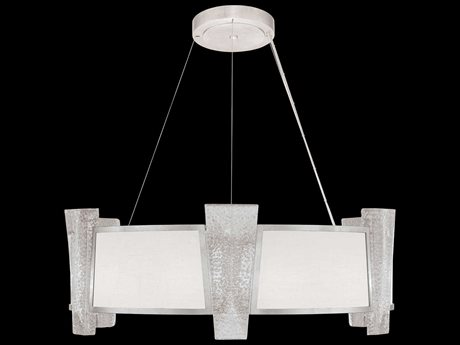 Fine Art Lamps Crownstone Silver with White Textured Linen 12-Light 32'' Wide Pendant Light