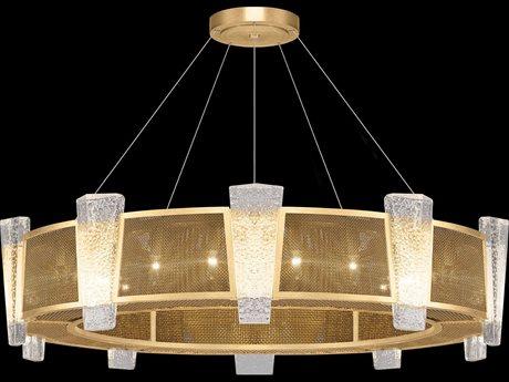 Fine Art Lamps Crownstone Gold with Metal Mesh 20-Light 45'' Wide Pendant Light
