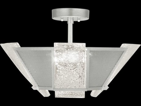 Fine Art Lamps Crownstone Silver Leaf with Metal Mesh Four-Light 23'' Wide Semi-Flush Mount FA89134012ST
