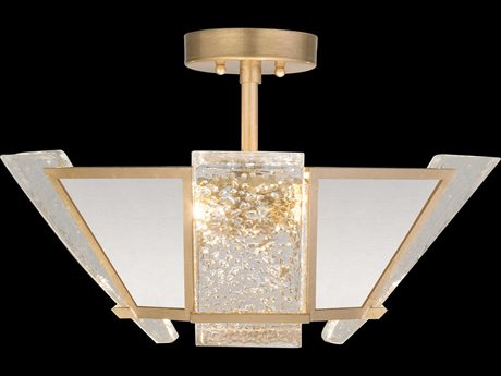 Fine Art Lamps Crownstone Gold Leaf with White Textured Linen Four-Light 23'' Wide Semi-Flush Mount FA89134021ST