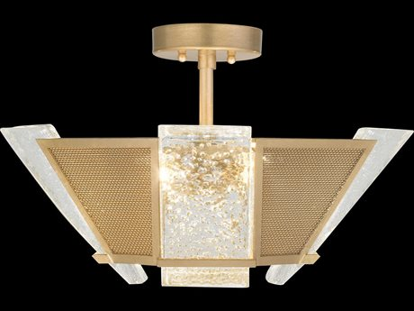 Fine Art Lamps Crownstone Gold Leaf with Metal Mesh Four-Light 23'' Wide Semi-Flush Mount FA89134022ST