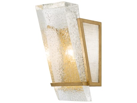 Fine Art Lamps Crownstone Gold Leaf with White Textured Linen Wall Sconce
