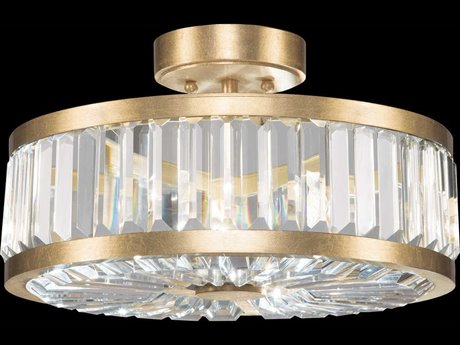 Fine Art Lamps Crystal Enchantment Gold Three-Light 16''Wide Semi-Flush Mount Light FA8157402ST