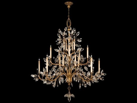 Fine Art Lamps Crystal Laurel Gold 774540ST 20-Light 75'' Wide Grand Chandelier