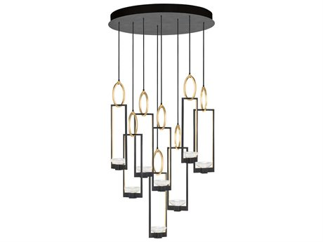 Fine Art Lamps Delphi Black and Gold Eight-Light 33.5'' Wide Pendant Light