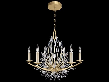 Fine Art Lamps Lily Buds Gold Leaf with Faceted Crystal Six-Light 34'' Wide Chandelier FA8811401ST